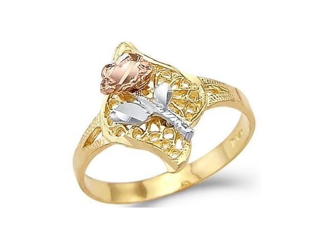 14k Three Color Gold Yellow White and Rose Flower Ring