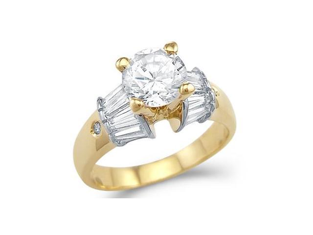 Solid 14k Yellow Gold Engagement Wedding Solitaire CZ Cubic Zirconia Ring 1.5 ct