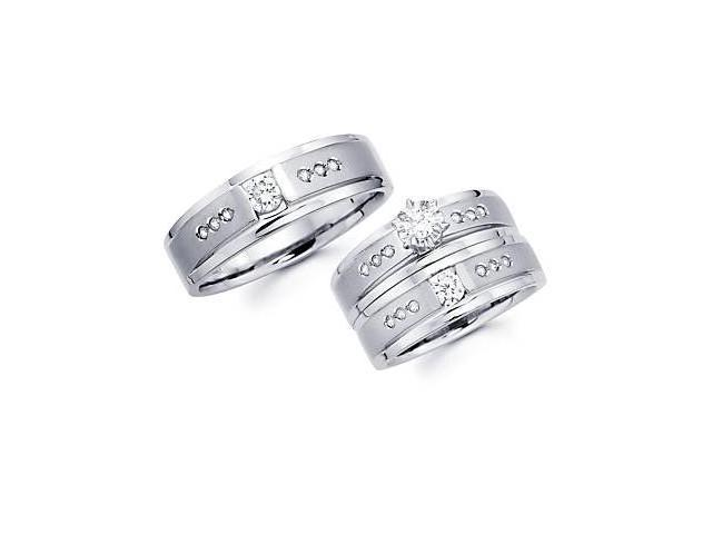 .63ct Diamond 14k White Gold Three 3 Engagement Wedding Trio His and Hers Ring Set (G-H, SI2)