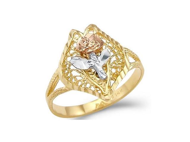14k Yellow White n Rose Tri-Color Gold New Flower Ring