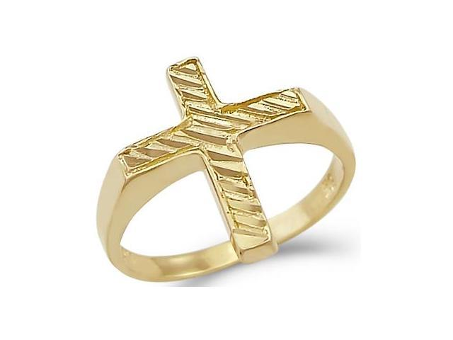 New Solid Ladies 14k Yellow Gold Diamond Cut Cross Ring