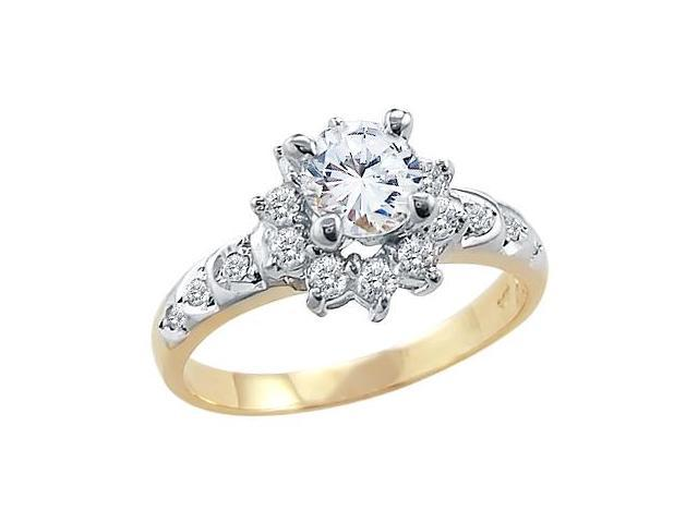 Solid 14k Yellow and White Gold Round CZ Cubic Zirconia Ladies Engagement Ring 1.5 ct