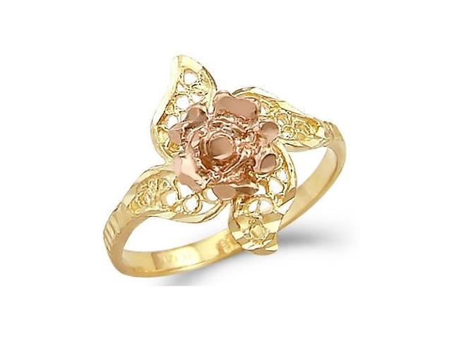 14k Yellow and Rose Gold Two Tone Flower Leaf Ring New