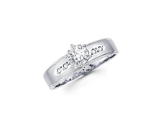 .14ct Diamond 14k White Gold Solitaire Round Engagement Ring (G-H Color, SI2 Clarity)