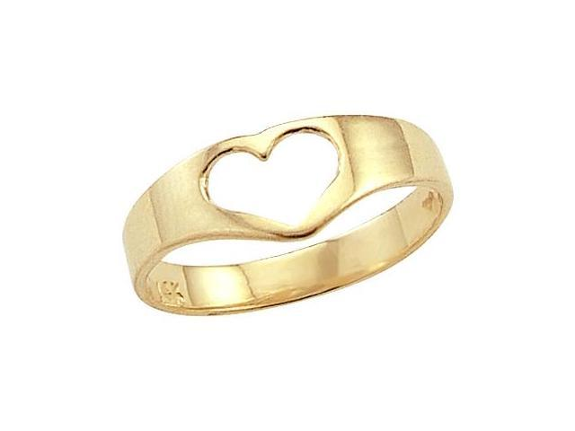Solid 14k Yellow Gold Heart Cut Ring New