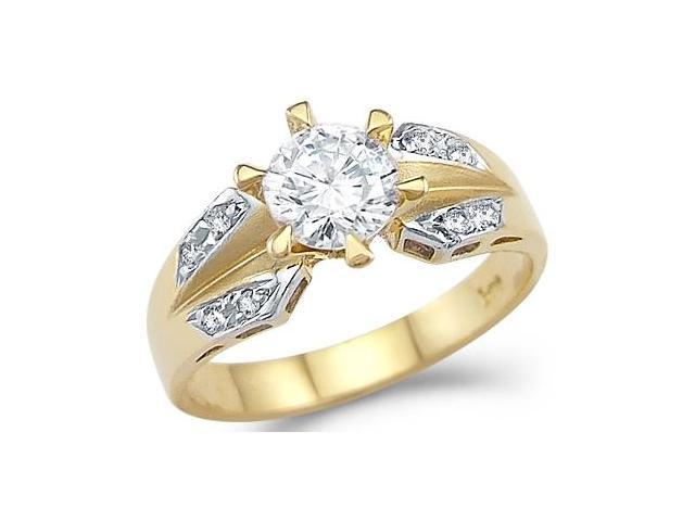 Solid 14k Yellow and White Gold Engagement Solitaire CZ Cubic Zirconia Ring 1.0 ct