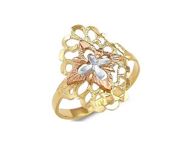 14k Yellow White and Rose Gold Tri Color New Cross Ring