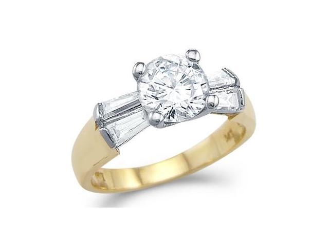 Solid 14k Yellow and White Gold Engagement CZ Cubic Zirconia Ring High Polish 2.0 ct