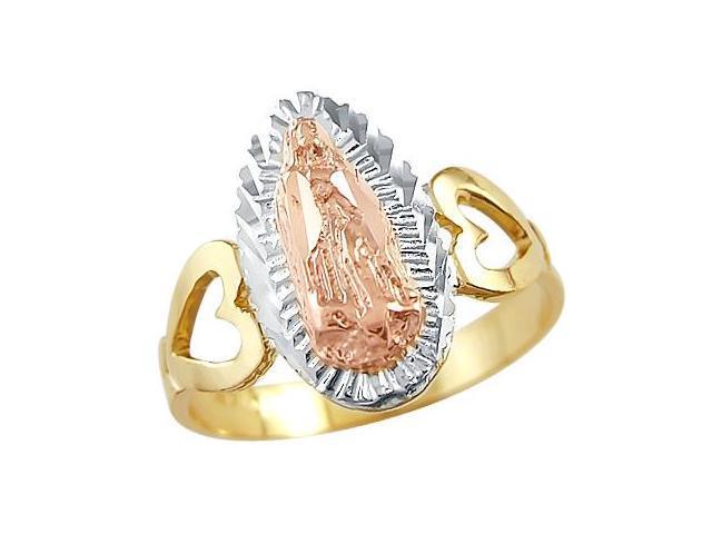 14k Tri Color Yellow Gold Virgin Mary Diamond Cut Ring
