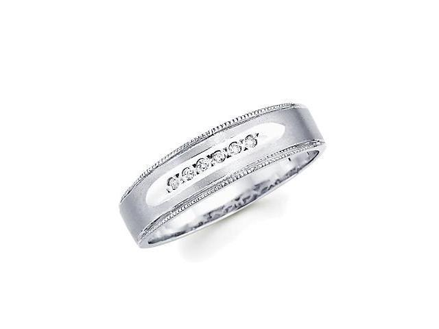 .05ct Diamond 14k White Gold Mens Matching Wedding Ring Band (G-H Color, SI2 Clarity)