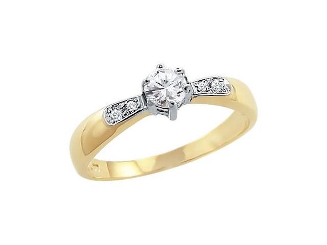 Solid 14k Yellow and White Gold Round CZ Cubic Zirconia Engagement Ladies Ring 0.5 ct