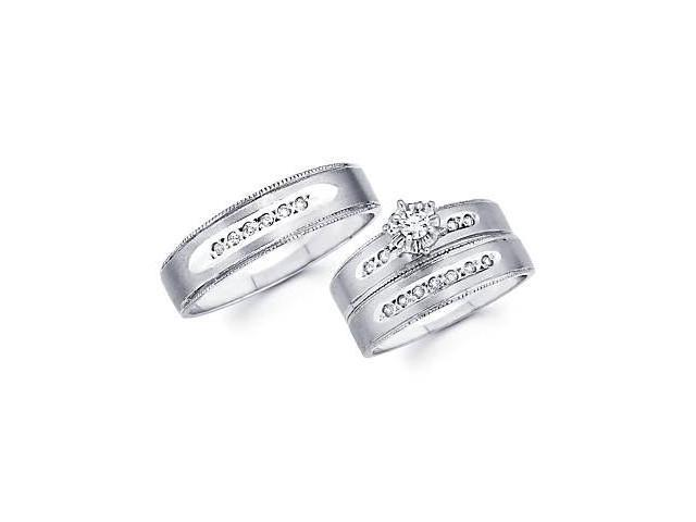 1/4ct Diamond 14k White Gold Engagement Wedding Three Ring Trio His and Hers Set (G-H, SI2)
