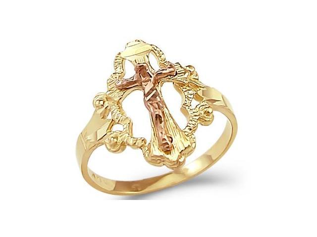 14k Yellow and Rose Two Tone Gold Cross Crucifix Ring