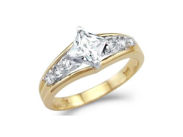 Solid 14k Yellow and White Gold Princess Cut Engagement CZ Cubic Zirconia Ring 1.0 ct