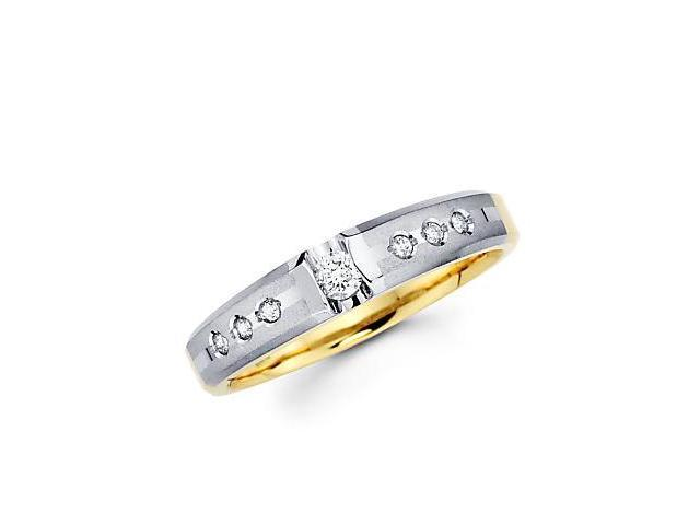 .13ct Diamond 14k White Two Tone Gold Hers Wedding Ring Band (G-H Color, SI2 Clarity)