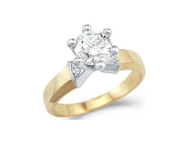 Solid 14k Yellow and White Gold Solitaire CZ Cubic Zirconia Engagement Ring Round Cut 1.25 ct