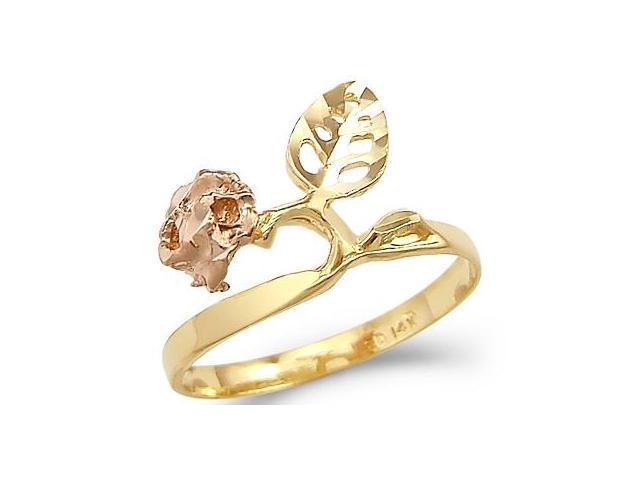 14k Yellow and Rose Gold Rose Flower Leaf Ladies Ring