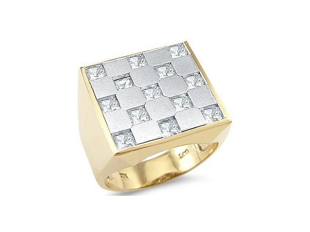 Solid 14k Yellow White Two Tone Gold Mens Huge Square CZ Cubic Zirconia Ring