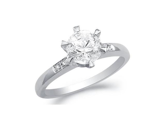 Solid 14k White Gold New Solitaire Round CZ Cubic Zirconia Engagement Ring 1.0 ct
