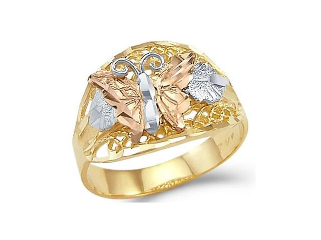 14k Yellow White Rose Tri-Color Gold Butterfly Ring New