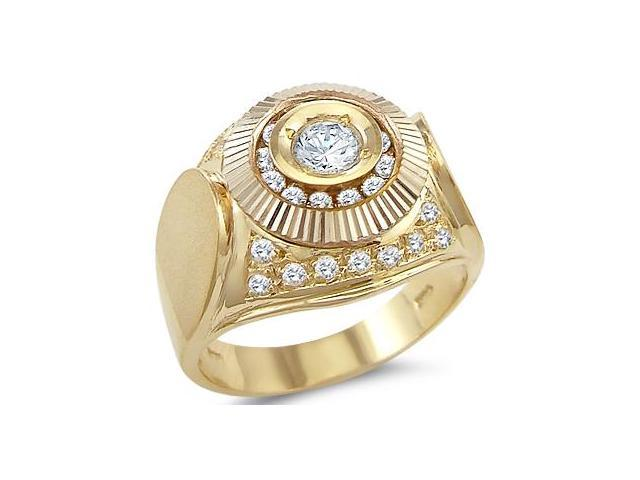 Solid 14k Yellow Gold Mens Large Round Cut Solitaire CZ Cubic Zirconia Ring