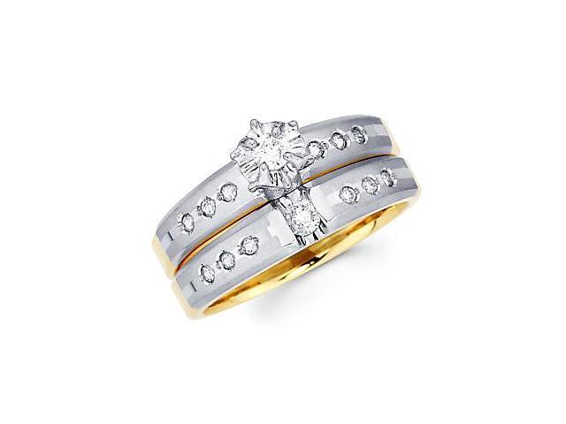 .28ct Diamond 14k White and Yellow Gold Engagement 2 Ring Set (G-H Color, SI2 Clarity)