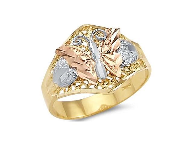 New 14k Yellow White Rose Tri-Color Gold Butterfly Ring