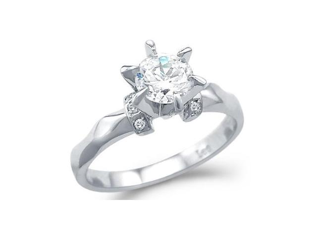 New Solid 14k White Gold Unique Solitaire CZ Cubic Zirconia Engagement Ring Round Cut 1.25 ct