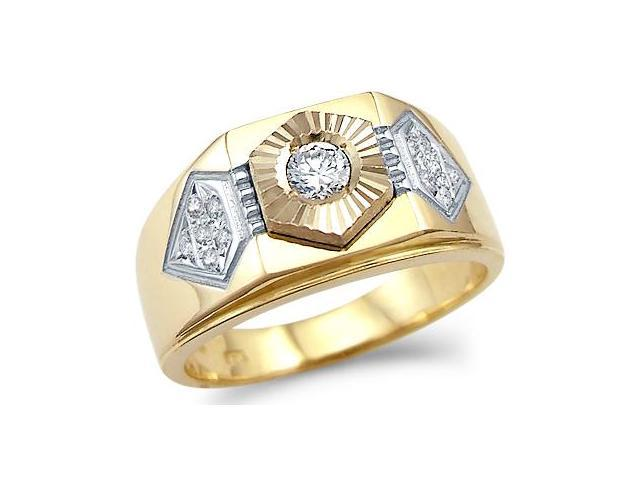 New Solid 14k Yellow Gold Mens Wedding Solitaire CZ Cubic Zirconia Band Ring 0.5 ct