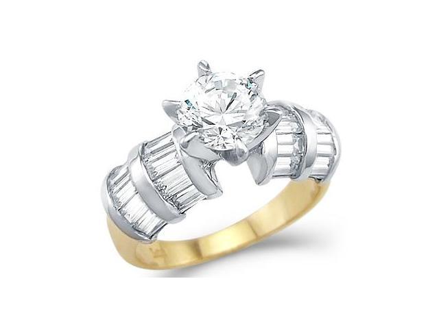 Solid 14k Yellow and White Gold Engagement Wedding CZ Cubic Zirconia Ring 1.5 ct