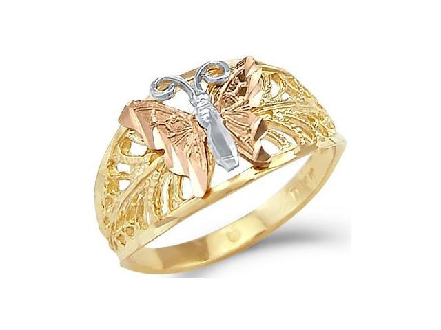14k Yellow White Rose 3 Three Color Gold Butterfly Ring