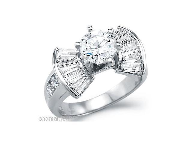 Solid 14k White Gold Engagement Wedding Solitaire CZ Cubic Zirconia Ring 3.0 ct