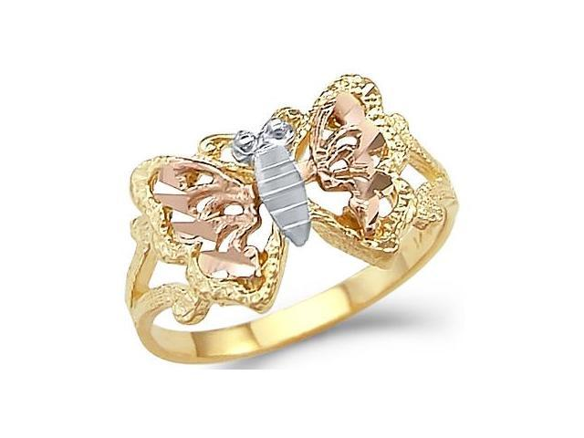 14k Yellow White n Rose Tri-Color Gold Butterfly Ring