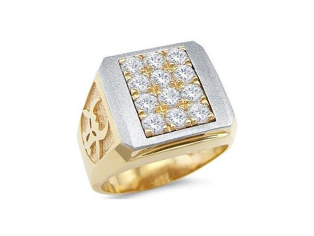 Solid 14k Yellow and White Gold Mens Large Round CZ Cubic Zirconia Bull Ring