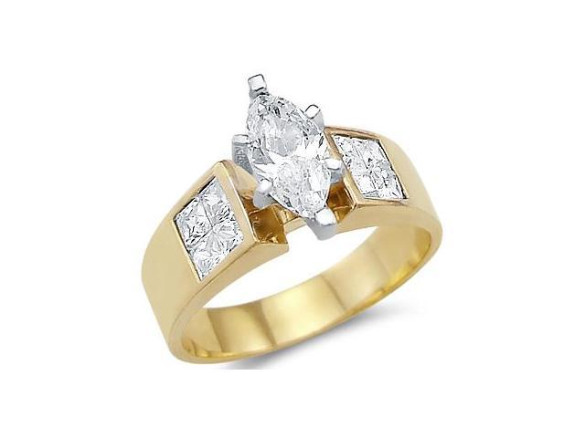 Solid 14k Yellow Gold Marquise CZ Cubic Zirconia Engagement Wedding Ring 1.5 ct