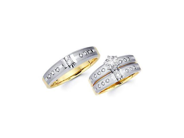 .41ct Diamond 14k Two Tone Gold Engagement Wedding Trio 3 Three Ring His and Hers Set (G-H, SI2)