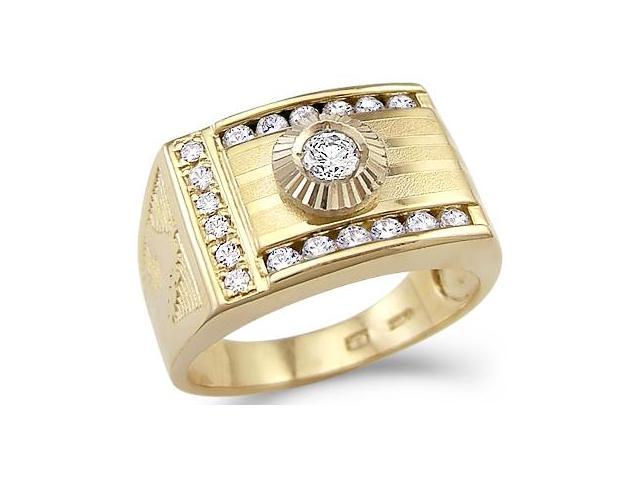 Solid 14k Yellow Gold Mens Large Wedding Round CZ Cubic Zirconia Ring Band 1.0 ct