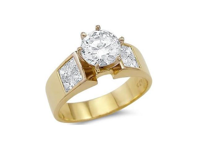 Solid 14k Yellow Gold Solitiare CZ Cubic Zirconia Large Engagement Ring Band 2.0 ct
