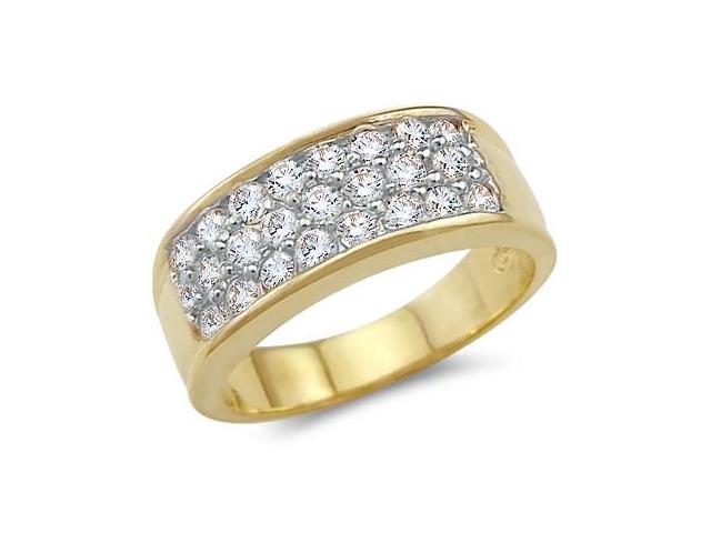Solid 14k Yellow Gold Ladies CZ Cubic Zirconia Wedding Band Cluster Ring 1.5 ct