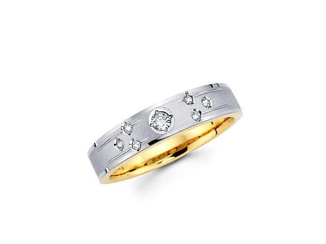 .12ct Diamond 14k White Two Tone Gold Hers Wedding Ring Band (G-H Color, SI2 Clarity)