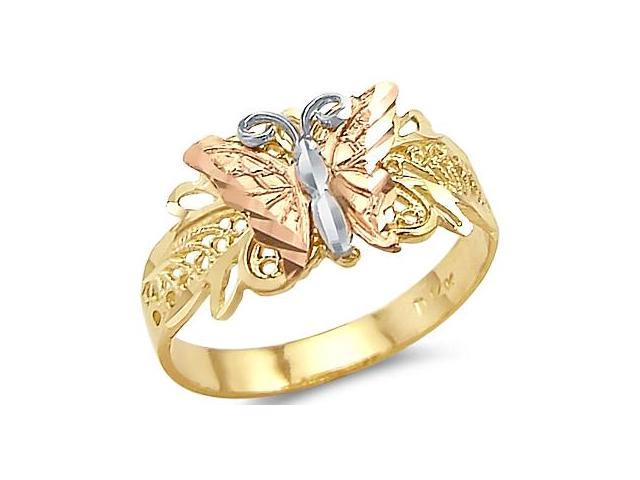 14k Tri Color Yellow White and Rose Gold Butterfly Ring