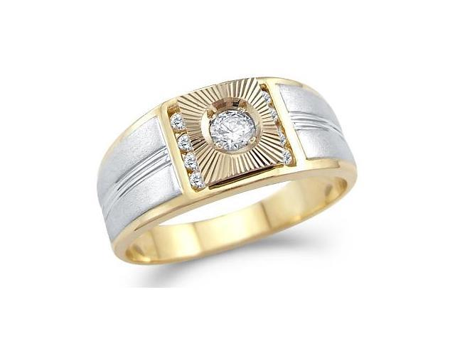 Solid 14k Yellow and White Gold Mens Wedding CZ Cubic Zirconia Solitaire Ring 0.5 ct