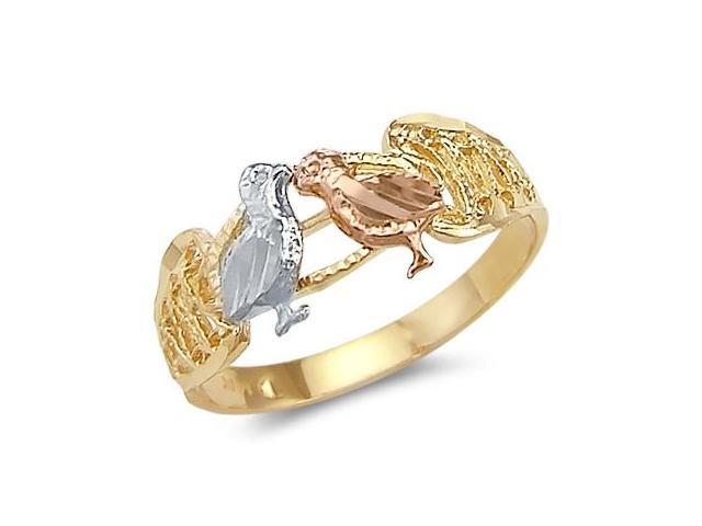 14k Yellow Tri-Color Gold 2 Two Love Birds Kissing Ring