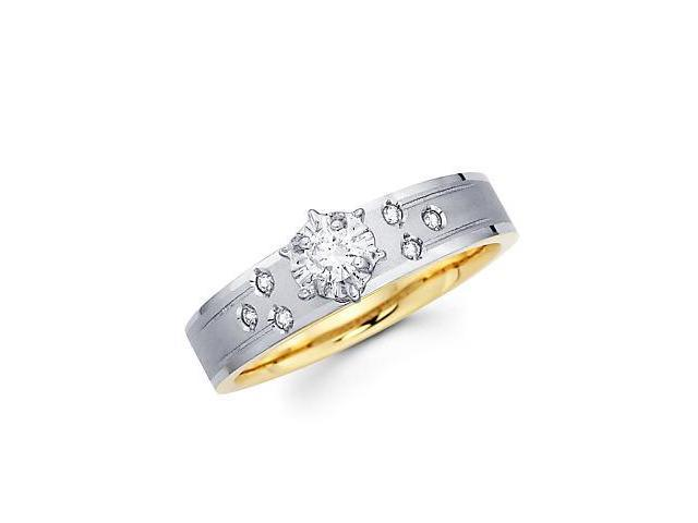.15ct Diamond 14k White & Yellow 2 Tone Gold Engagement Ring (G-H Color, SI2 Clarity)