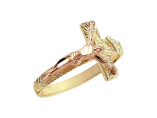 14k Yellow and Rose Gold Cross Crucifix Jesus Ring