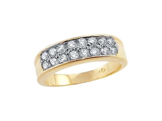 Solid 14k Yellow Gold Ladies Two Row Channel CZ Cubic Zirconia Wedding Ring 1.5 ct