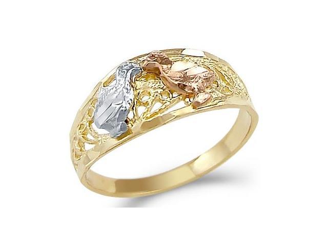 14k Yellow Tri-Color Gold Two Love Birds Kissing Ring