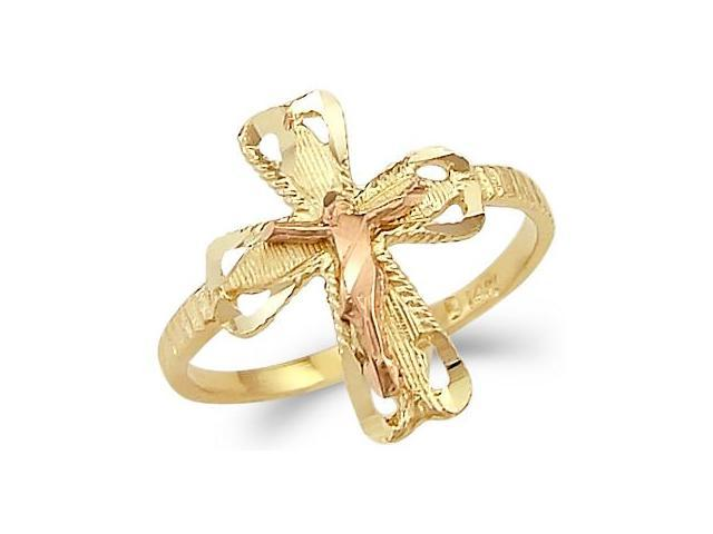 14k Yellow n Rose Two Tone Gold Cross Crucifix Ring