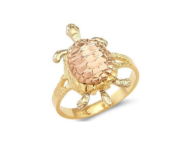 14k Yellow White Rose Tri Color Gold Ladies Turtle Ring