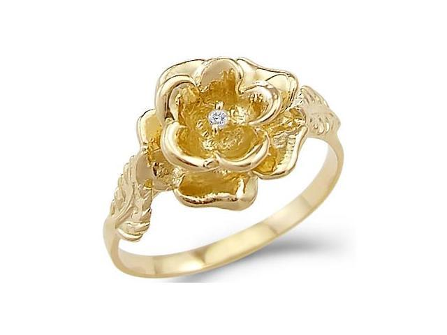 Solid 14k Yellow Gold Flower Rose Leaf Solitaire CZ Cubic Zirconia Ring